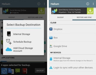 Destinasi backup, memori, kartu SD eksternal atau layanan cloud.