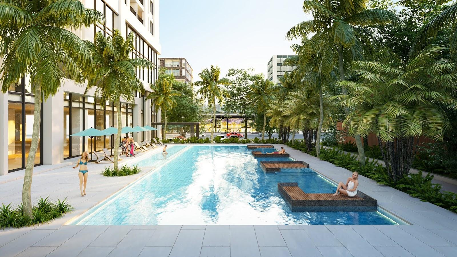 Khu bể bơi được thiết kế hiện đại