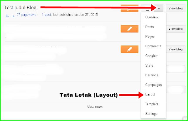 Masuk Dashboard Blogger untuk Memilih Tata Letak untuk Widget