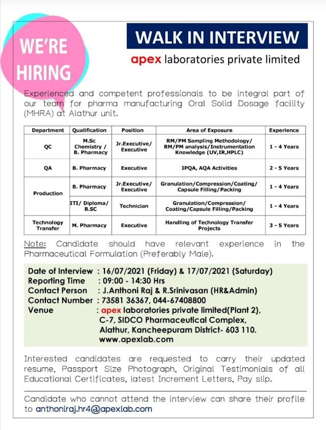 Apex Laboratories   Walk-in for Production/QC/QA/TAT on 16 & 17th Jul 2021
