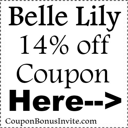 14% off BelleLily Discount Code Coupon Jan, Feb, March, April, May, June, July, Aug, Sep, Oct, Nov, Dec