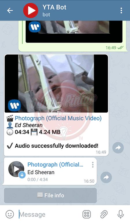 Cara Download Lagu dari Youtube di Telegram