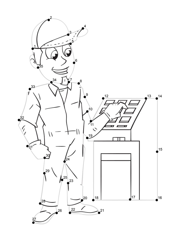 factory worker dot tracing worksheet
