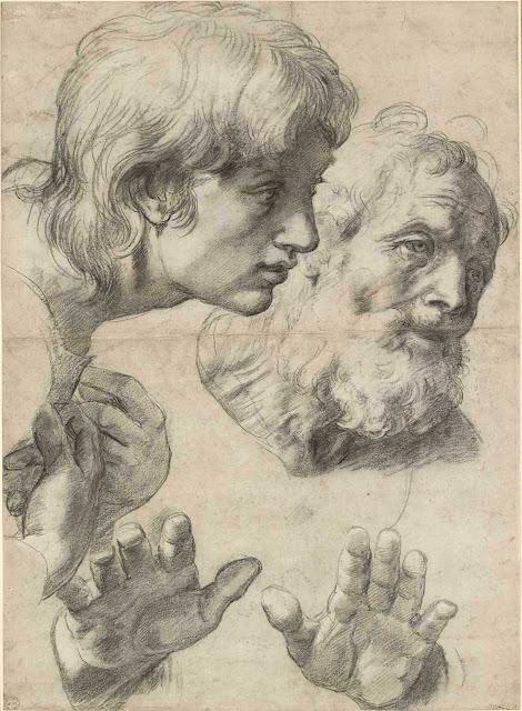 Raphaël /Rafaello Sanzio (1443-1520), Têtes et mains de deux apôtres, 1519 - 20. Ashmolean Museum, Oxford