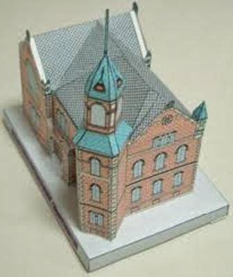 Papercraft building imprimible y armable de la Universidad de Doshisha en Japón. Manualidades a Raudales.