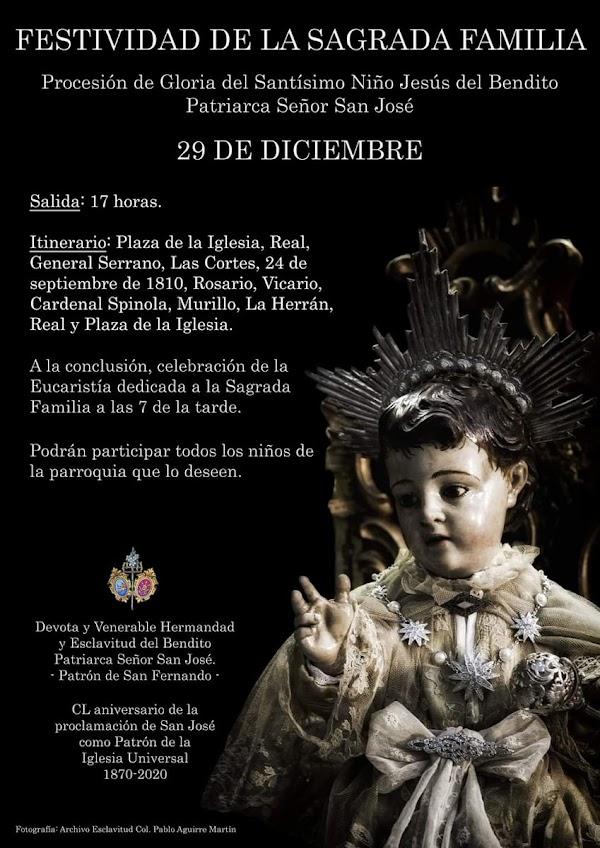 Horario e Itinerario de la Procesión del Stmo. Niño Jesús de San Fernando (Cádiz) el 29 de Diciembre del 2019