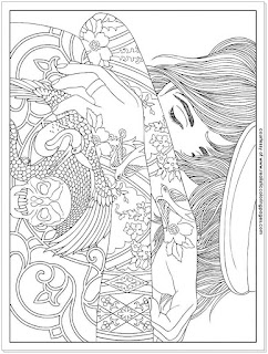 body art tattoo adults coloring pages free