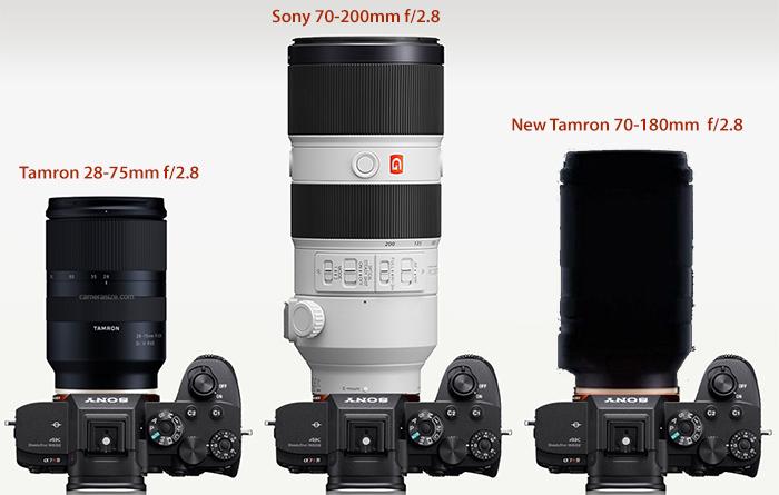 Габариты нового объектива Tamron 70-180mm f/2.8 в сравнении