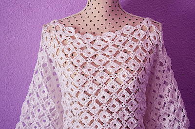 1 - CROCHET IMAGEN Blusa con mangas a crochet y ganchillo. MAJOVEL CROCHET
