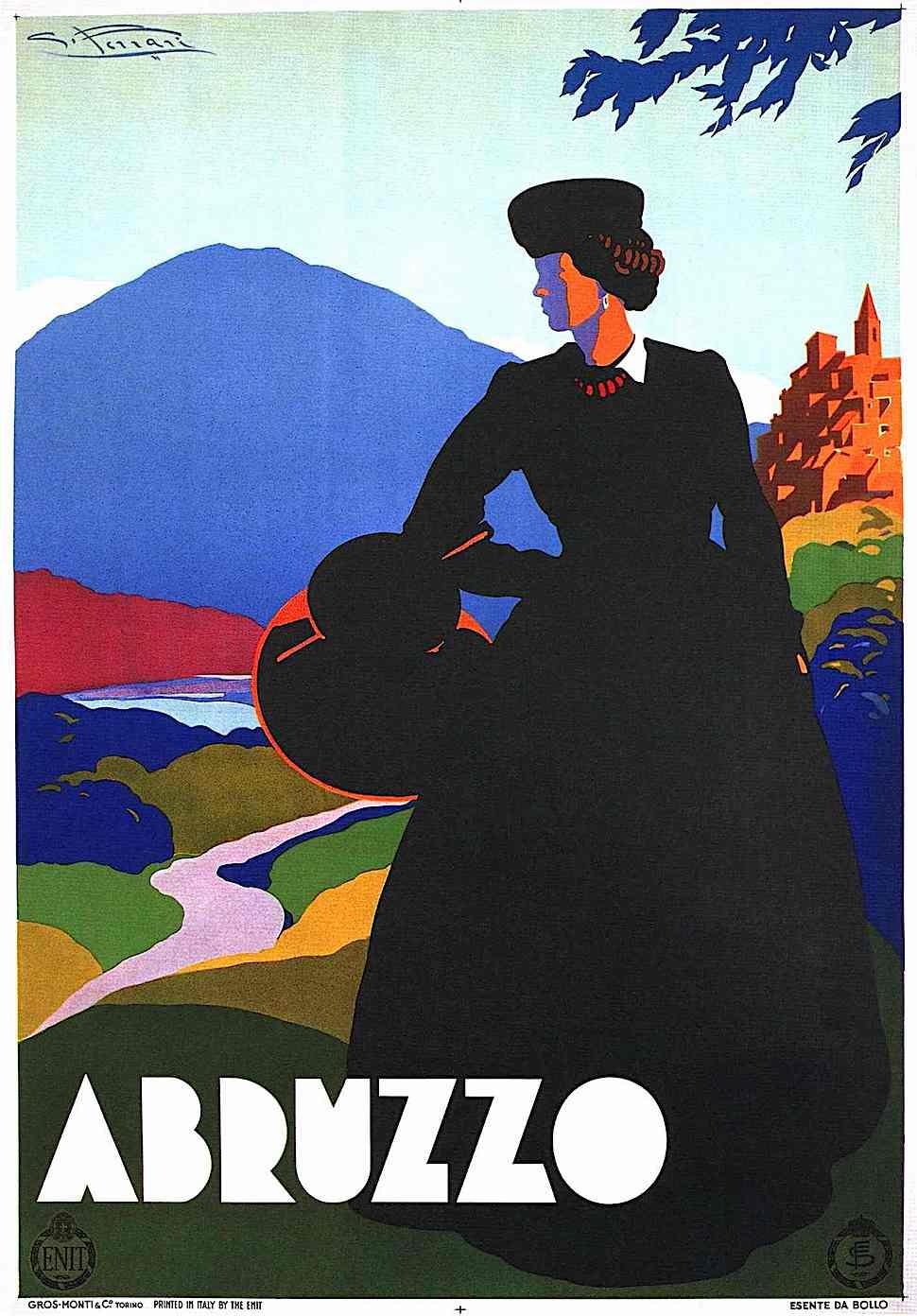 a Giulio Ferrari travel poster for Abruzzo Italy 1930