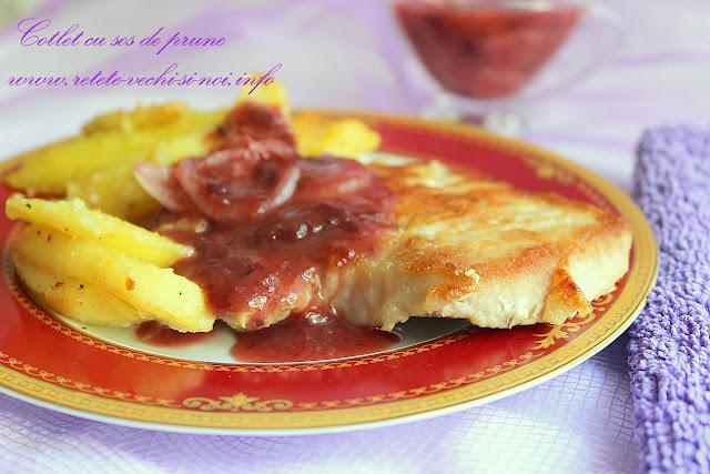 Cotlet la gratar cu sos de prune si cartofi wedges