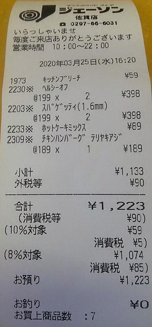 ジェーソン 佐貫店 2020/3/25 のレシート