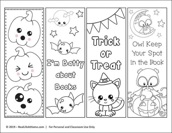 Design your own halloween bookmarks with these free colouring in printables