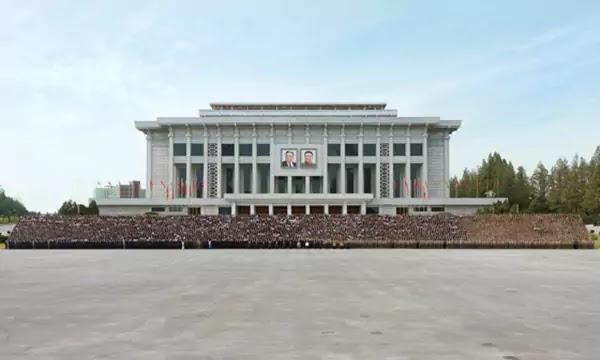 Kim Jong Un with WPK celebration delegates