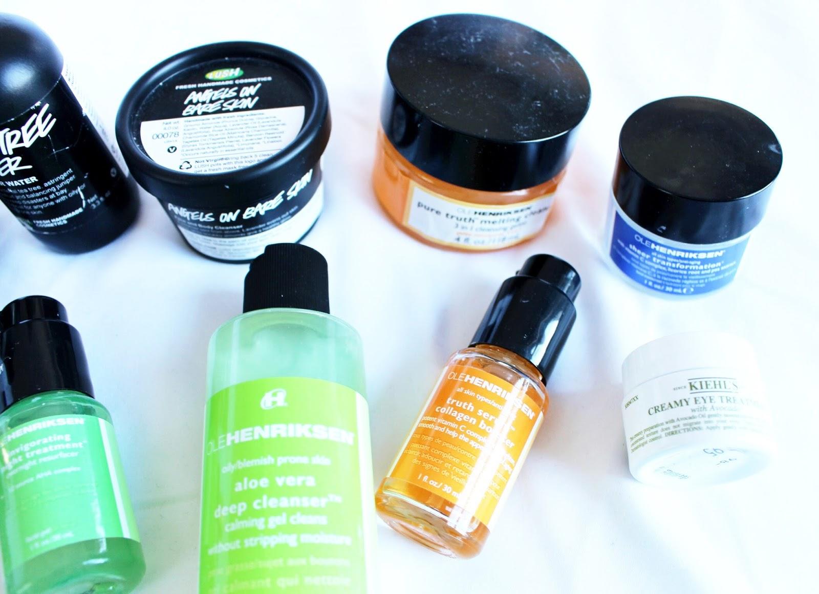 skincare routine - lush, sunday riley, ole henriksen, the body shop