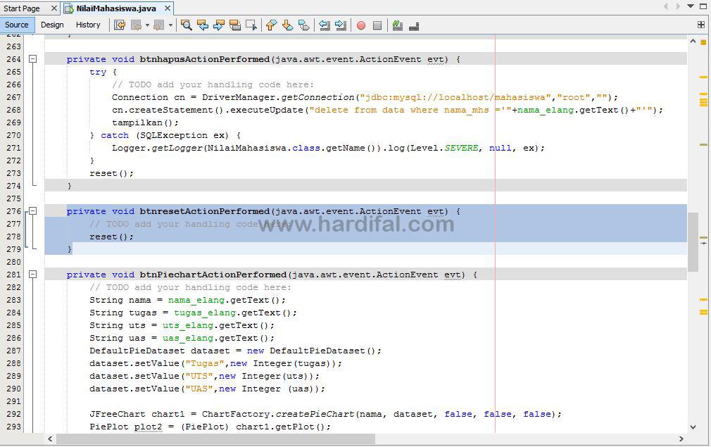 memberikan source code pada tombol reset