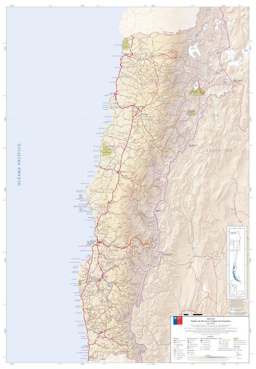 Mapa rodoviário do Norte do Chile - região de Atacama e Coquimbo