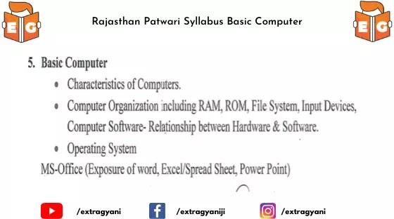 Rajasthan Patwari Syllabus Basic Computer