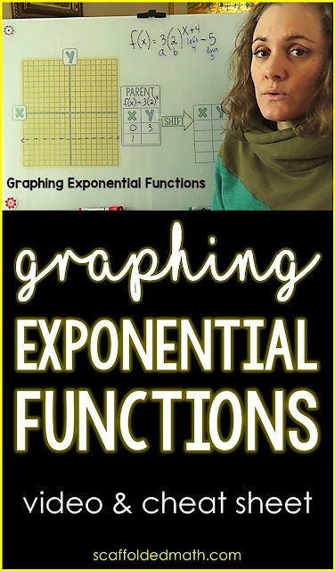 In this post is a free graphing exponential functions cheat sheet and video that walks students step-by-step through the process of graphing exponential functions by hand. The cheat sheet can be given to students for their algebra notebooks or enlarged into an algebra anchor chart. I have also linked an algebra 1 word wall. In it are visual references for exponential function vocabulary and compound interest vocabulary that can be displayed on a bulletin board during an exponential functions unit.
