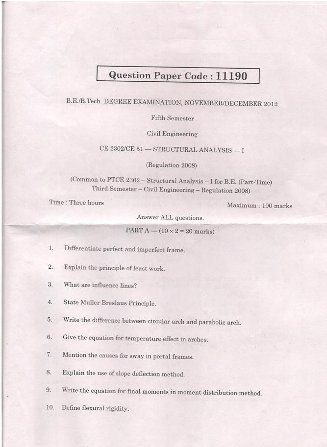 CE2302 Structural Analysis I Nov Dec 2012 Question Paper