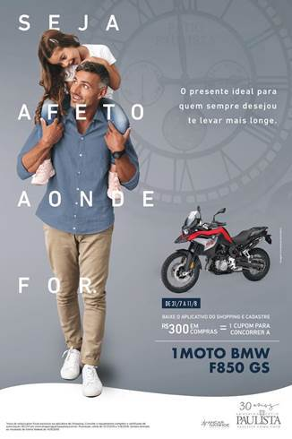 Shopping Pátio Paulista sorteará uma moto BMW 0 KM durante a campanha de Dia dos Pais
