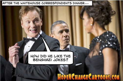 obama, obama jokes, white house correspondents, dinner, jokes, conan, benghazi, boston, terror, stilton jarlsberg, hope n' change, hope and change