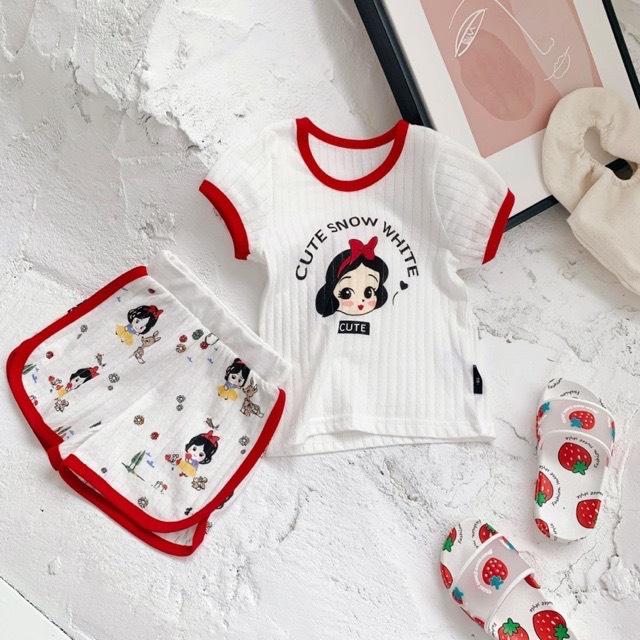 Bộ cotton tre mịn mát hình nàng bạch tuyết cho bé gái