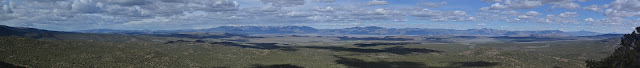 long panorama of peaks to the east