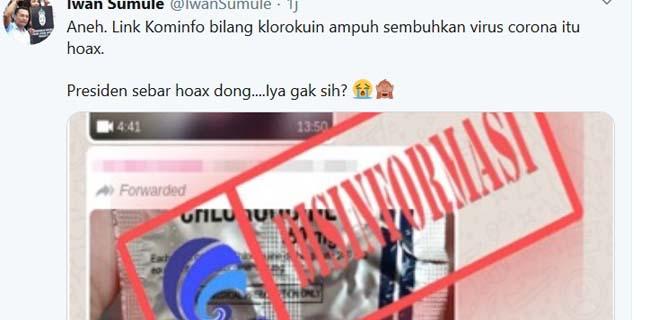 Kominfo Sebut Klorokuin Belum Terbukti Sembuhkan Covid-19, Iwan Sumule: Jokowi Sebar Hoax Dong?