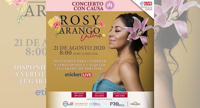 Rosy Arango presentará un concierto virtual con causa hecho con mucho amor