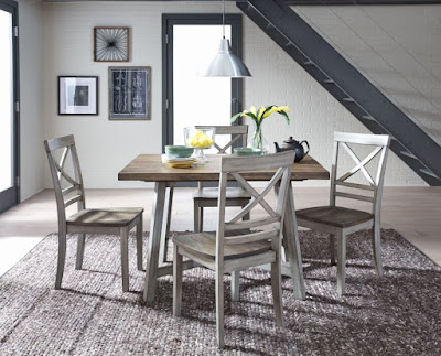Fairhaven rustic dining room furniture in gray color scheme