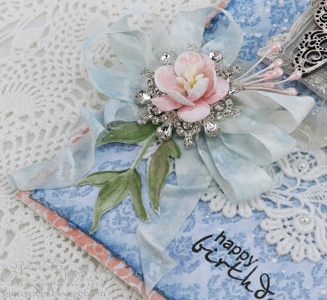 Shabby Chic Birthday Card by Tracey Sabella for Scrap & Craft #Studio75 #shabbychiccard #shabbychic #papercrafting #finnabair #primamarketing #usartquestprills #distressink #mayarts #chipboard #butterflycard