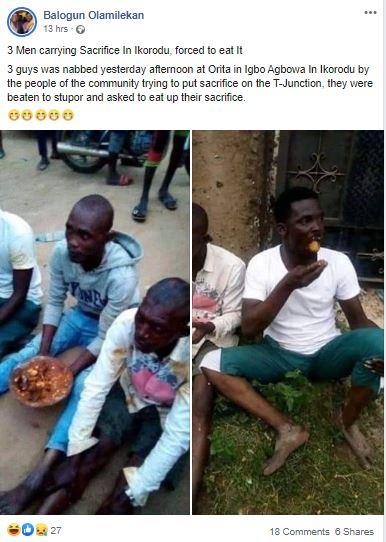 ikr2 - three males carrying sacrifice in Ikorodu, pressured to eat it [photos]