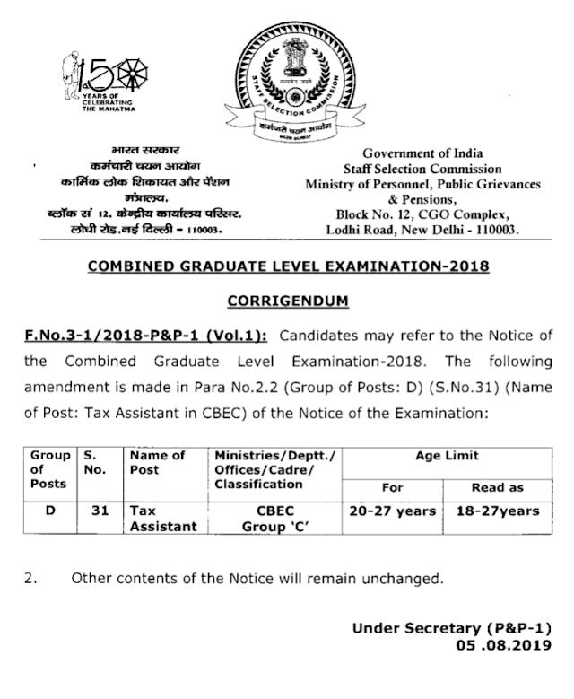 Corrigendum -Combined Graduate Level Examination, 2018