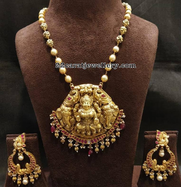 Lakshmi Peacock Pendant with Ruby Chandbalis