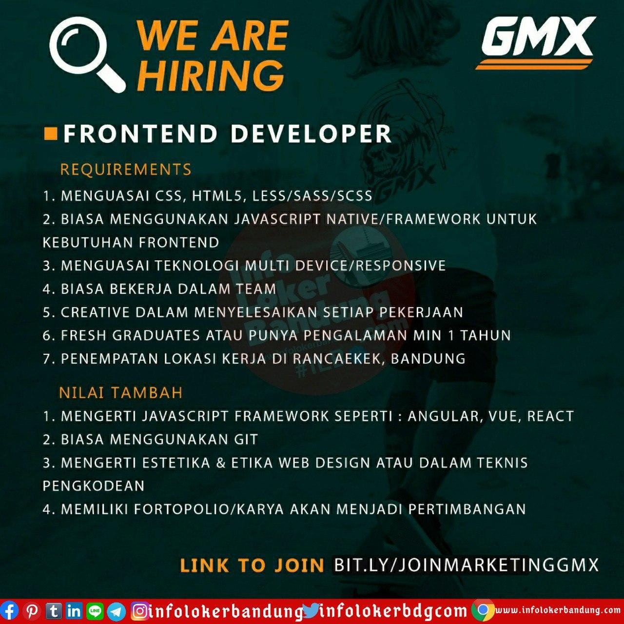 Lowongan Kerja Fronted Developer Gmx Bandung Juli 2020
