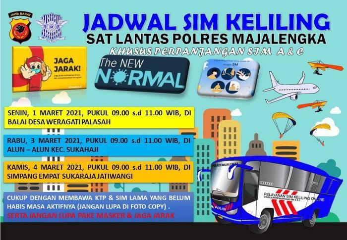Jadwal Lengkap SIM Keliling Majalengka Bulan Maret 2021