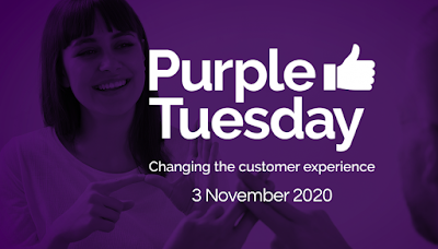 Purple background with people signing within the purple background with white text reading purple Tuesday changing the customer experience 3 November 2020