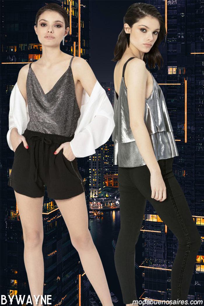 Ropa de mujer primavera verano 2020 tops y blusas con destellos plateadas. Moda 2020.│Moda primavera verano 2020.