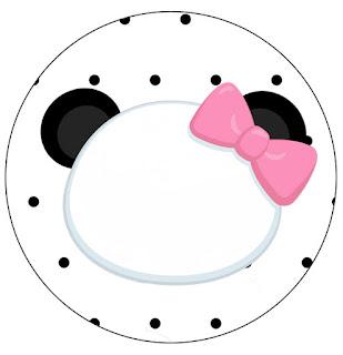 Panda Bebé en Zigzag Rosa: Toppers para Cupcake para Imprimir Gratis.