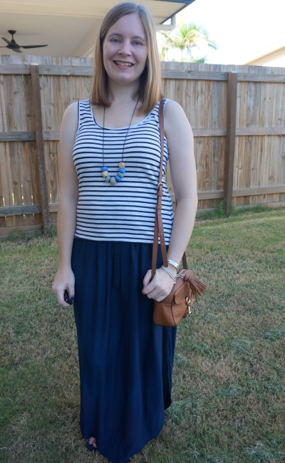 navy maxi skirt with white striped maxi skirt and tan rebecca minkoff mab camera crossbody bag | away from blue