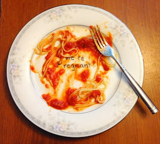We're Pregnant Dinner Plate by Mommyanity