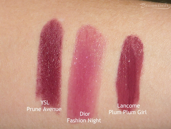 swatches ysl rouge pur couture prune avenue dior addict fashion night lancome plum girl