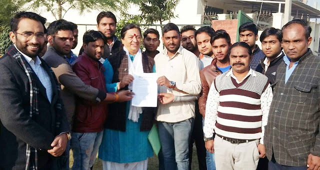 Youth advocate handed over memorandum to MLA Trisha for demanding linking colleges from YMCA University