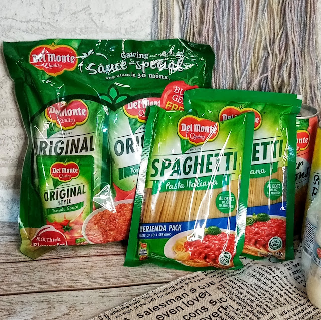 Del Monte Spaghetti Pasta Italiana Merienda and Original Style Tomato Sauce