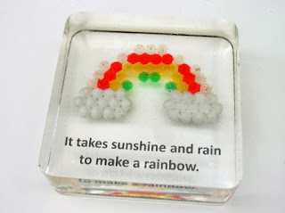 Paperweight containing a Child's Hama bead creation