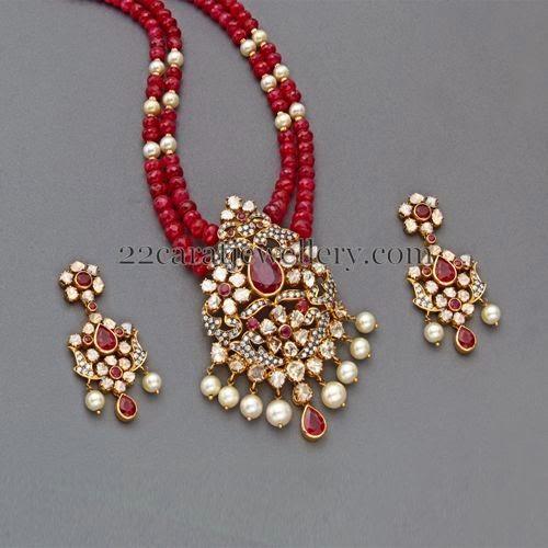 Ruby Beads Set With Designer Locket Jewellery Designs