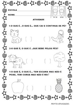 Atividade adivinhas folclore alfabetização para imprimir.