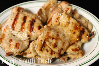 Roadside-Style Vinegar Grilled Chicken, boneless, skinless chicken thighs marinated in a seasoned vinegar and oil mixture, then grilled. Saucing is completely optional!