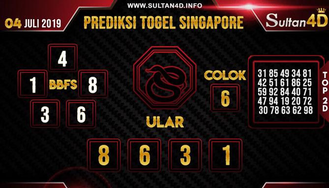 PREDIKSI TOGEL SINGAPORE SULTAN4D 04 JULI 2019